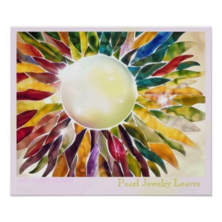 Art Glass Pearl Leaves Luxury Poster