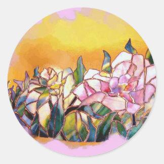 Art Glass Peony Artistic Modern Seal Round Sticker