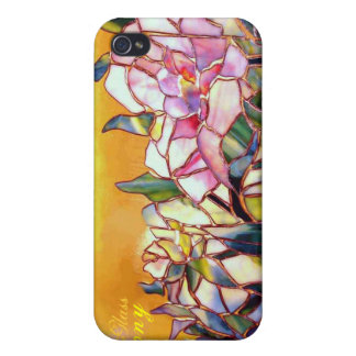 Art Glass Peony Lovely  Covers For iPhone 4