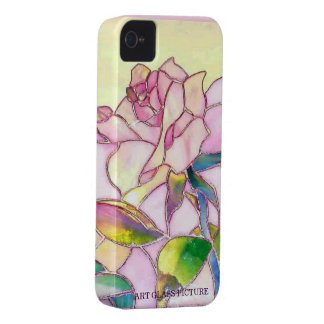 Art Glass Sweet Pink Rose Barely There iPhone 4 Case-Mate Case