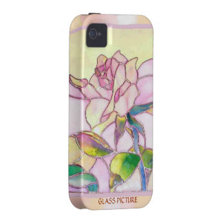 Art Glass Sweet Pink Rose Tough Cover iPhone 4 Covers