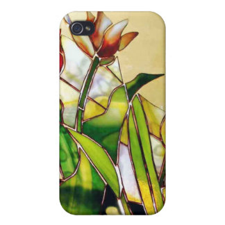 Art Glass Tulip Floral  Case For iPhone 4