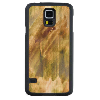 art green, brown hand paint background seamless carved maple galaxy s5 case