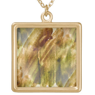 art green, brown hand paint background seamless gold plated necklace