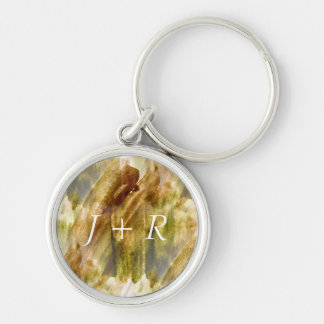 art green, brown hand paint background seamless Silver-Colored round key ring