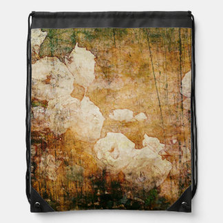 art grunge floral vintage background texture drawstring bag