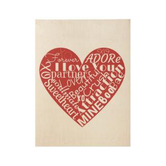 Art Heart Shape Love Words Modern Valentine's Day Wood Poster