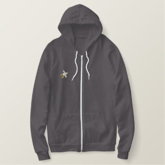 Art Hoodie: Embroidered Seagull. Grey Embroidered Hoodie
