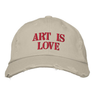 Art is Love Distressed Cap Embroidered Baseball Caps