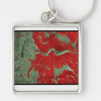 Art key ring Silver-Colored square key ring