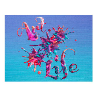 Art Life Colorful Paint Splatter Whimsical Artsy Postcard