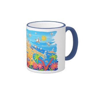 Art Mug: Summertime Days, St Ives, Cornwall Ringer Mug