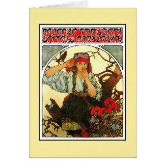Art Nouveau Alfons Mucha Slav Maiden (girl) Greeting Card