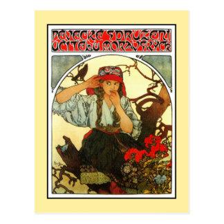 Art Nouveau Alfons Mucha Slav Maiden (girl) Postcard