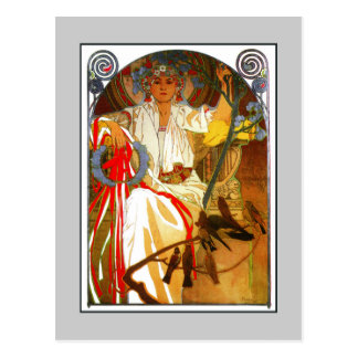 Art Nouveau Alfons Mucha Spring festival Postcard