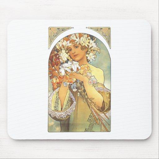 """Art Nouveau - Alphonse Mucha """"Flower"""" Mouse Pad"""