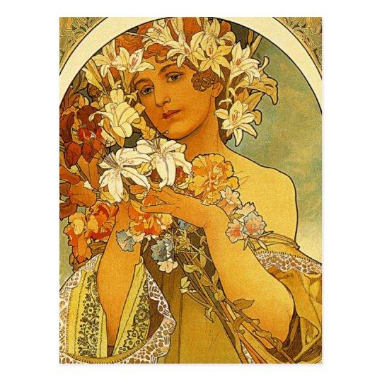 Art Nouveau Alphonse Mucha Flower Post Card
