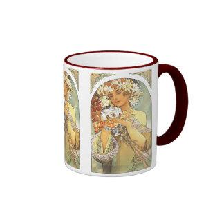 "Art Nouveau - Alphonse Mucha ""Flower"" Ringer Mug"