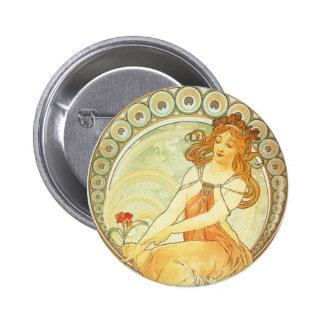 Art Nouveau Alphonse Mucha Lithograph Button