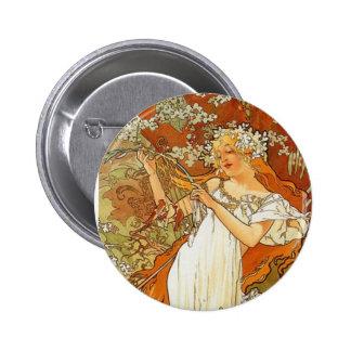 Art Nouveau Alphonse Mucha Spring Button