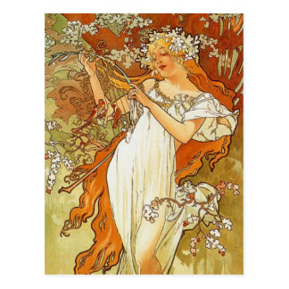 Art Nouveau Alphonse Mucha Spring Post Card