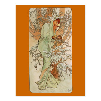Art Nouveau - Alphonse Mucha - Winter Postcard