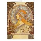 Art Nouveau Alphonse Mucha Zodiac Note Card