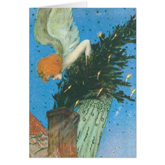Art Nouveau Angel bringing the Christmas Tree Card