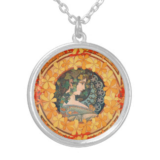 Art Nouveau Autumn Maiden Round Necklace