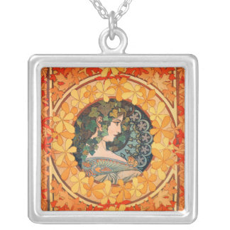 Art Nouveau Autumnal Design Square Necklace