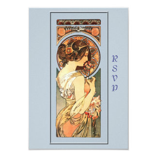 Art Nouveau Beautiful Bride Wedding RSVP Card 9 Cm X 13 Cm Invitation Card