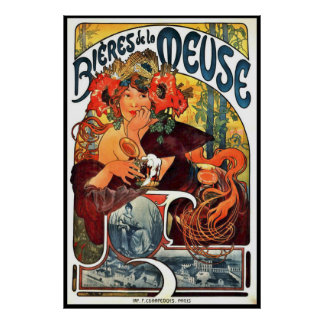Art Nouveau Beer Ad 1897 Poster