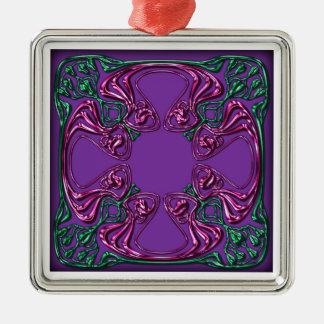 Art Nouveau bejeweled square Christmas Ornament