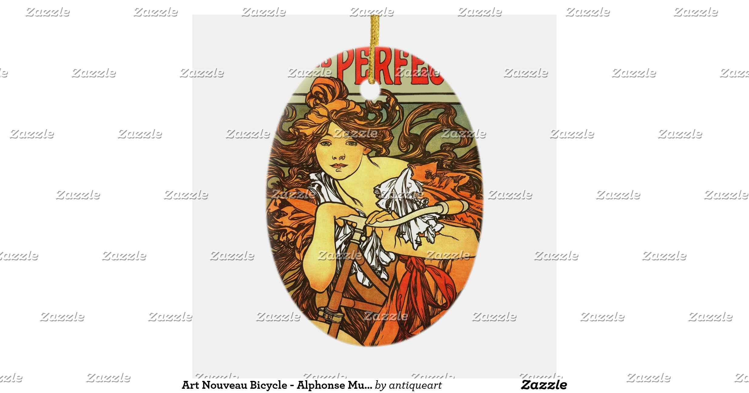 Art nouveau bicycle alphonse mucha ceramic oval for Art nouveau decoration ameublement