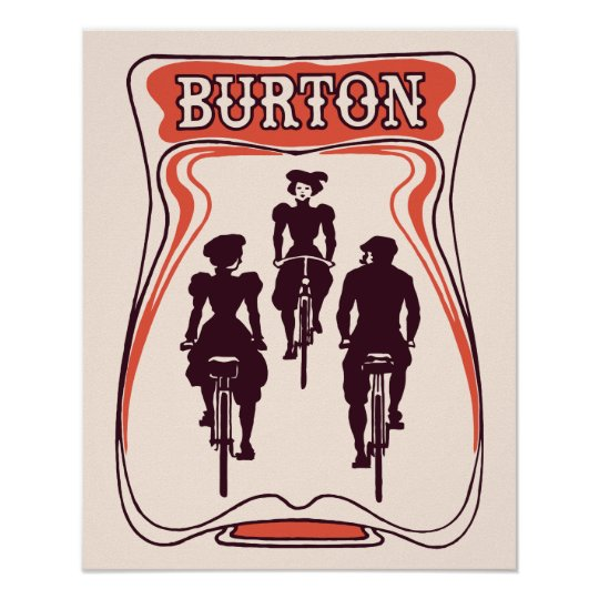Art nouveau bicyle theme beer advertising poster