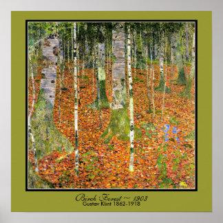 Art Nouveau Birch Forest Gustav Klimt 1903 Poster
