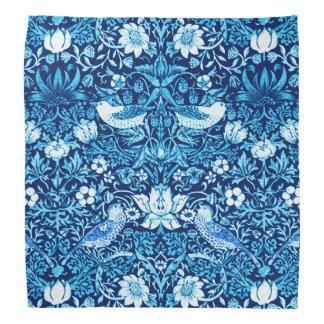 Art Nouveau Bird and Flower Tapestry, Dark Blue Bandana