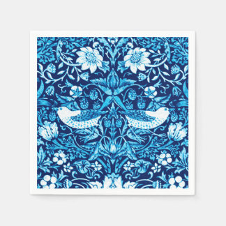 Art Nouveau Bird and Flower Tapestry, Dark Blue Disposable Serviettes