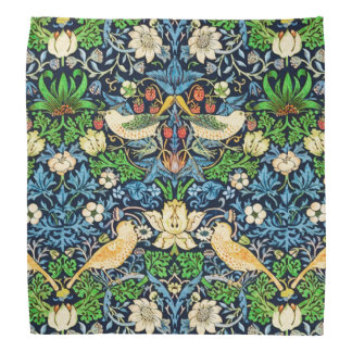 Art Nouveau Bird and Flower Tapestry Pattern Head Kerchiefs