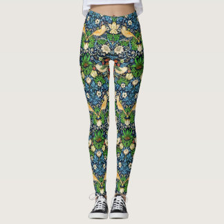 Art Nouveau Bird and Flower Tapestry Pattern Leggings
