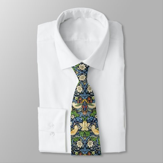 Art Nouveau Bird and Flower Tapestry Pattern Tie