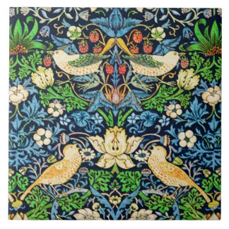 Art Nouveau Bird and Flower Tapestry Pattern Tile