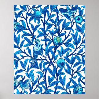 Art Nouveau Bird and Pomegranate, Cobalt Blue Poster