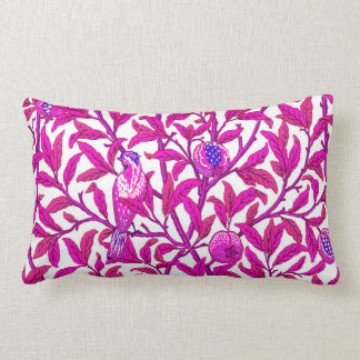 Art Nouveau Bird and Pomegranate, Fuchsia Pink Lumbar Pillow
