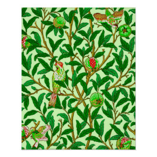 Art Nouveau Bird and Pomegranate, Lime Green Poster