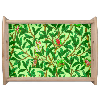 Art Nouveau Bird and Pomegranate, Lime Green Serving Tray