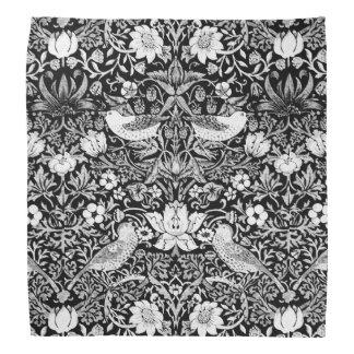 Art Nouveau Bird & Flower Tapestry, Black & White Bandana