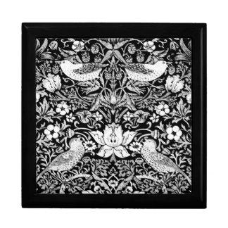Art Nouveau Bird & Flower Tapestry, Black & White Gift Box