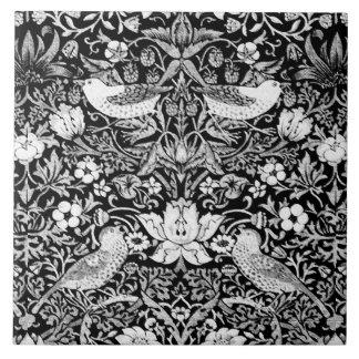 Art Nouveau Bird & Flower Tapestry, Black & White Tile