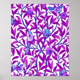 Art Nouveau Bird & Pomegranate, Amethyst Purple Poster